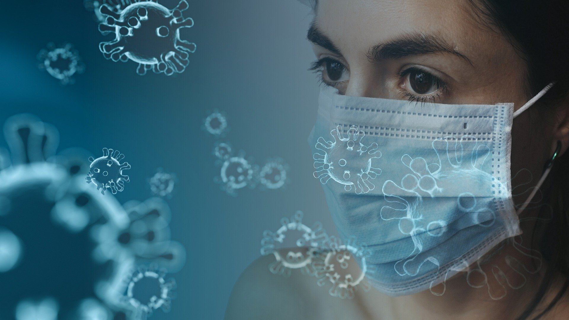 Woman wearing mask against infection